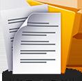 infografika przedstawiająca dwie zapisane kartki papieru i teczkę na dokumenty
