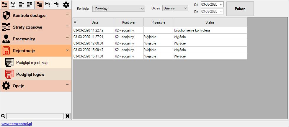 Zrzut ekranu z Systemu Kontroli Dostępu - podgląd logów