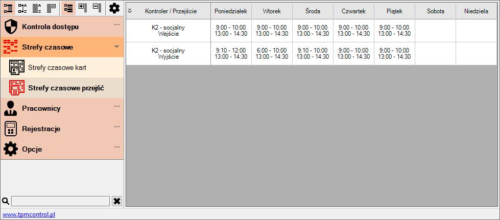 Zrzut ekranu z Systemu Kontroli Dostępu - strefy czasowe przejść