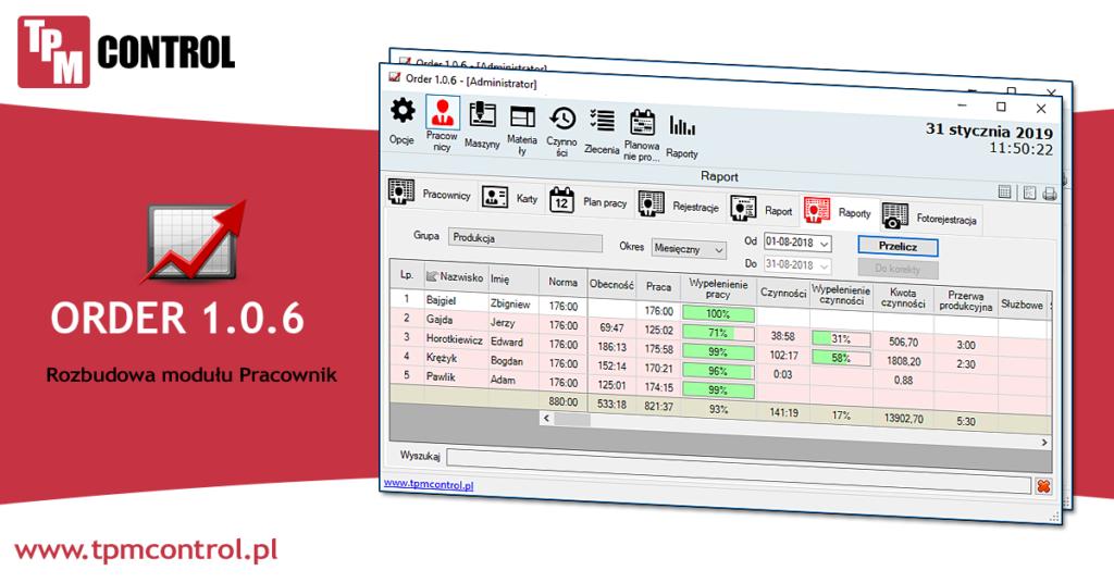 Ekran przedstawiający moduł Pracownik który jest elementem systemu Planowania Produkcji i Obsługi Zleceń