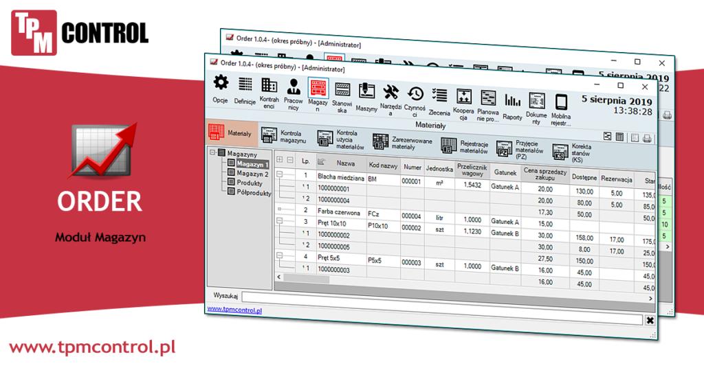Infografika przedstawiająca moduł magazyn w systemie Planowania Produkcji i Obsługi Zleceń