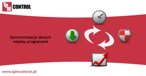 Infografika przedstawiająca synchronizację danych między systemami TPM Control