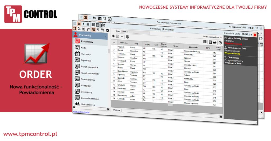 Screen ze strony aktualności - informacja o nowej funkcji programu systemu Planowania Produkcji i Obsługi Zleceń