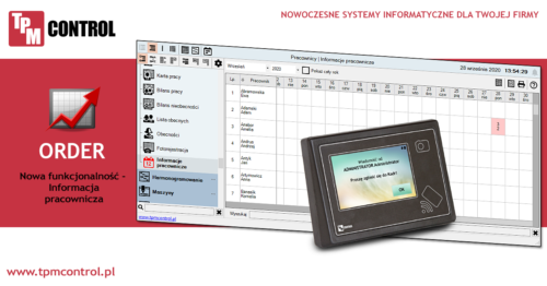 Screen ze strony aktualności - informacja o nowej funkcji programu i rejestratora systemu Planowania Produkcji i Obsługi Zleceń