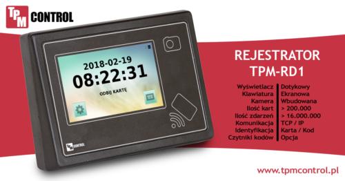 Rejestrator TPM - RD1 zaprojektowany do pracy w systemie Planowania Produkcji i Obsługi Zleceń oraz w systemie Rejestracji Czasu Pracy