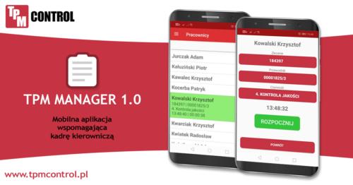 Ekran komórki z aplikacją mobilną TPM Action