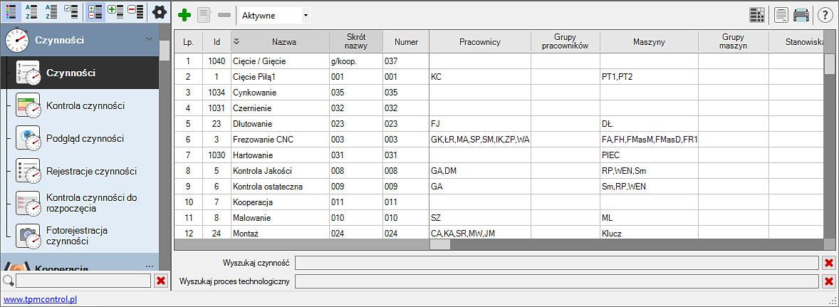 Zrzut ekranu z Systemu Planowania Produkcji i Obsługi Zleceń - czynności