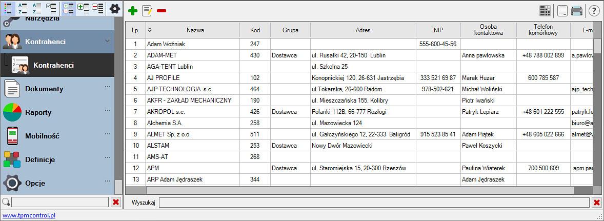 Zrzut ekranu z Systemu Planowania Produkcji i Obsługi Zleceń - kontrahenci