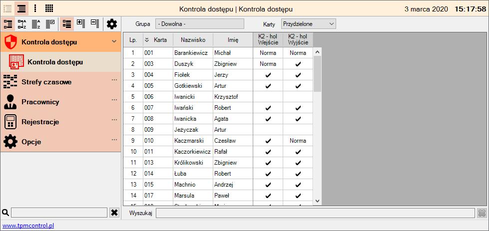 Zrzut ekranu z systemu Kontrola Dostępu
