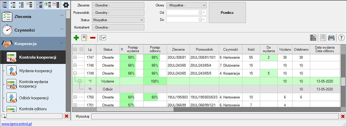 Zrzut ekranu z Systemu Planowania Produkcji i Obsługi Zleceń - kontrola kooperacji