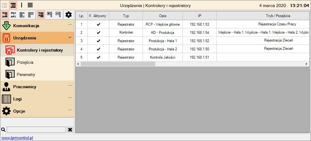 Zrzut ekranu z programu Control do obsługi rejestratorów i zdarzeń