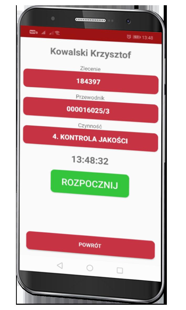 Ekranu komórki z aplikacją mobilną TPM Action