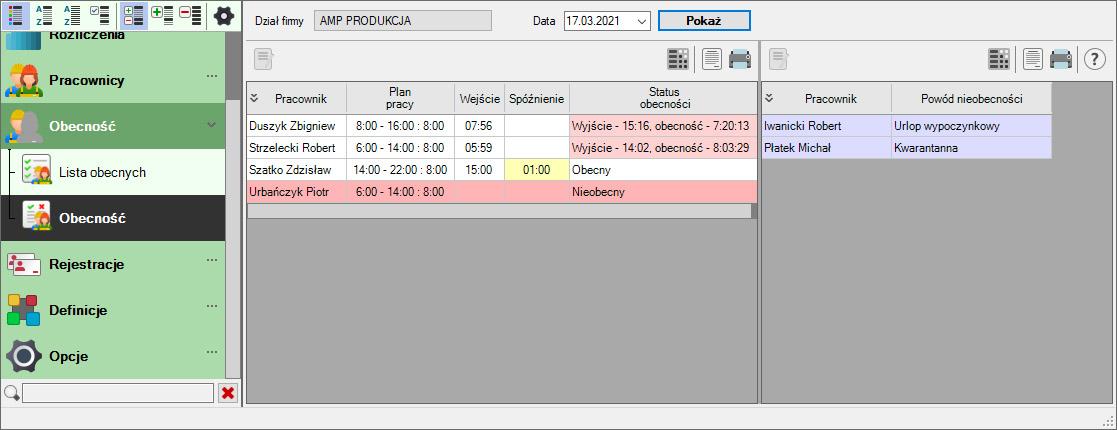 Zrzut ekranu z systemu Rejestracja Czasu Pracy - obecność