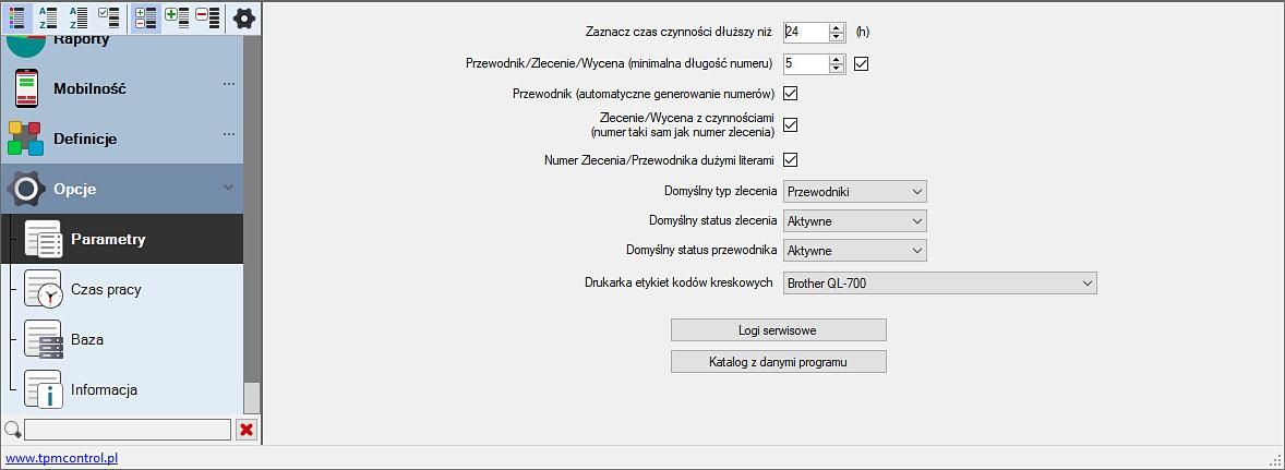 Zrzut ekranu z Systemu Planowania Produkcji i Obsługi Zleceń - ustawienia parametrów