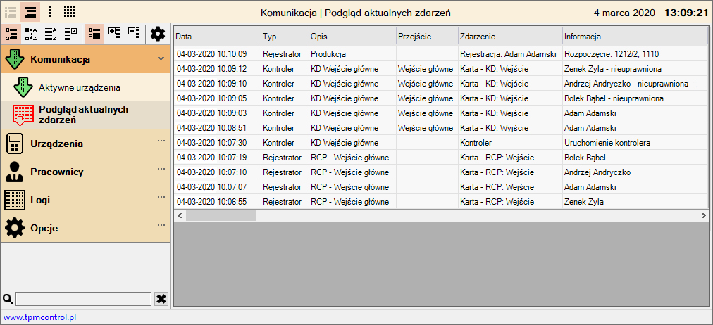 Zrzut ekranu z programu obsługującego rejestratory