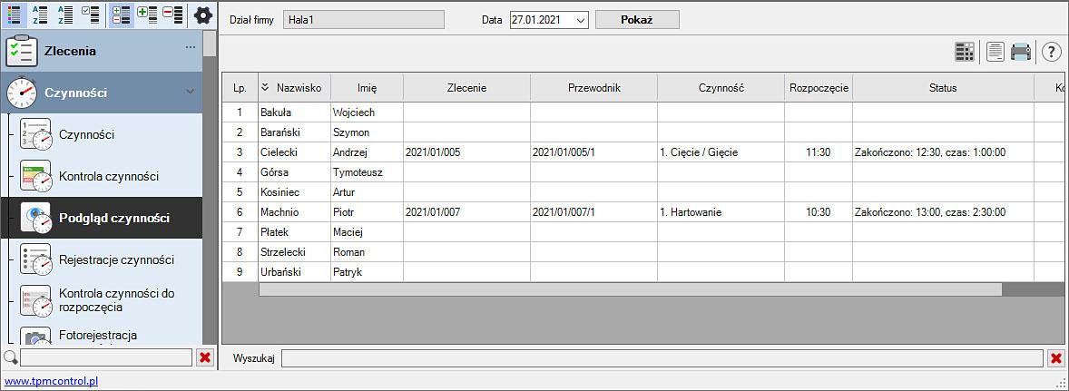 Zrzut ekranu z Systemu Planowania Produkcji i Obsługi Zleceń - podgląd wykonywanych czynności