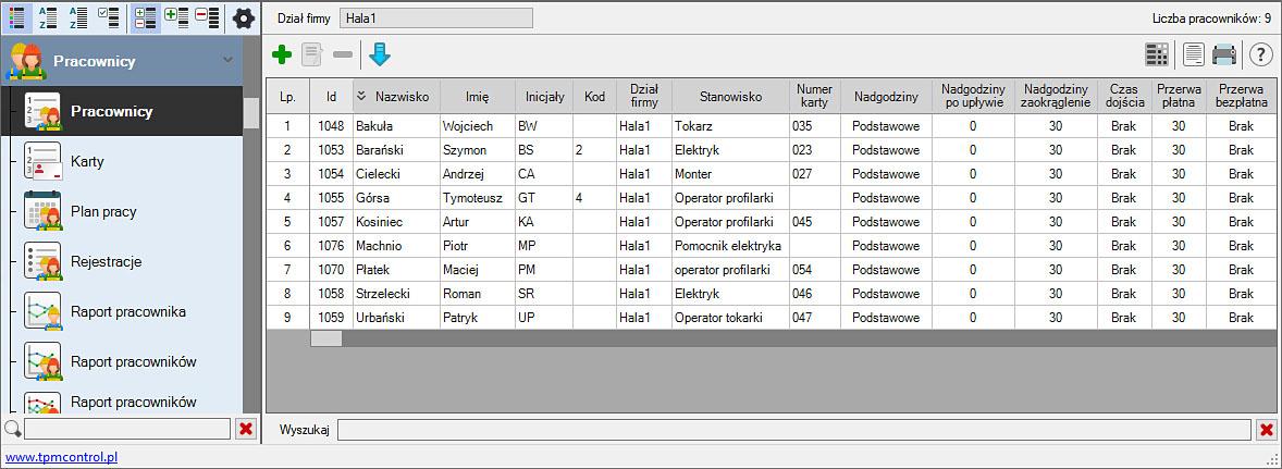 Zrzut ekranu z Systemu Planowania Produkcji i Obsługi Zleceń - pracownicy