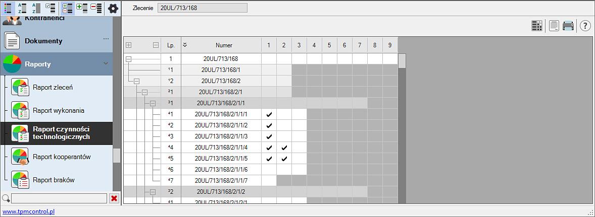 Zrzut ekranu z systemu Planowania Produkcji i Obsługi Zleceń - raport czynności technologicznych