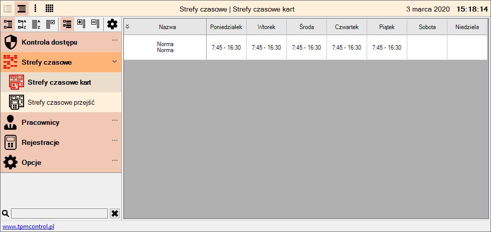 Zrzut ekranu z systemu Kontrola Dostępu - strefy czasowe kart
