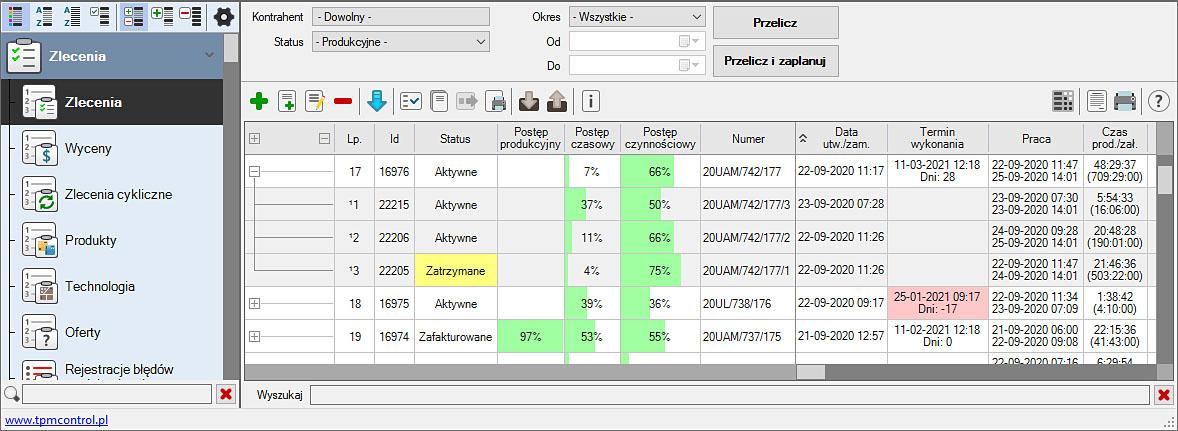 Zrzut ekranu z Systemu Planowania Produkcji i Obsługi Zleceń - zlecenia